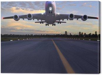 airplane landing 3D illustration