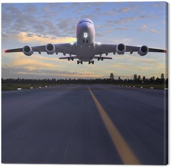 Canvas Print airplane landing 3D illustration