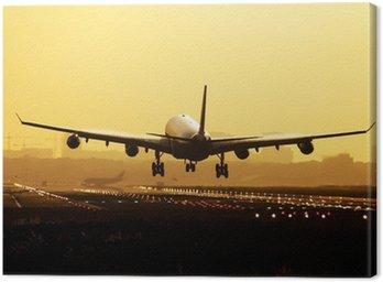 Airplane sunrise landing