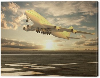 Canvas Print Airplane taking off at sunset