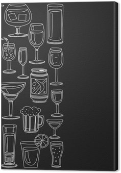 Alcohol drinks and cocktails icon set Canvas Print