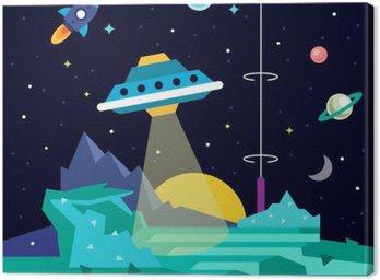 Canvas Print Alien space planet landscape with ufo