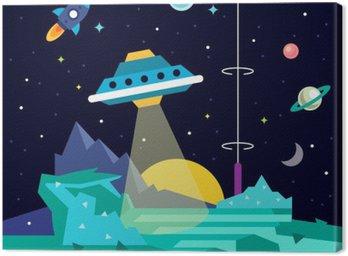 Alien space planet landscape with ufo Canvas Print