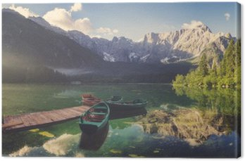 Canvas Print Alpine lake at dawn, beautifully lit mountains, retro colors, vintage