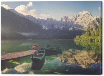 Alpine lake at dawn, beautifully lit mountains, retro colors, vintage