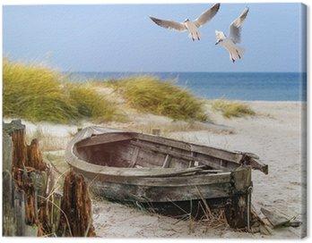 Canvas Print altes Fischerboot, Möwen, Strand und Meer
