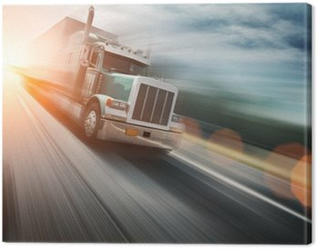 Canvas Print American truck on freeway, blurred motion