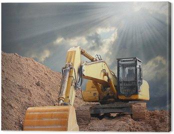 An excavator in old mine. Damaged landscape concept.