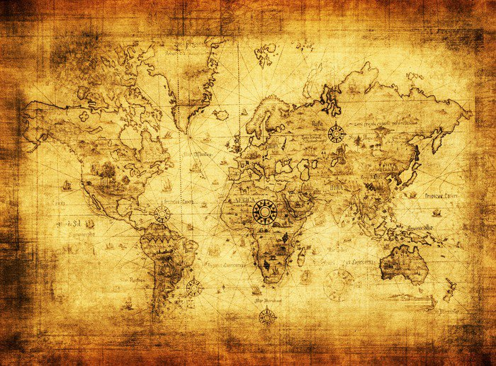 ancient map of the world Canvas Print -