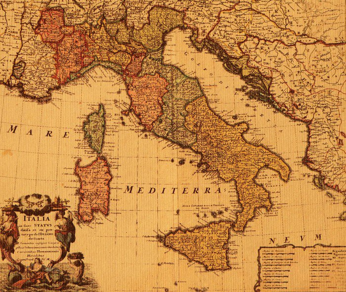 Canvas Print antique map of Italy - Themes