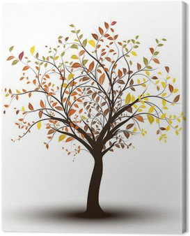 Canvas Print arbre - automne fond blanc, tree in autumn isolated on white