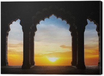 Arch silhouette at sunset Canvas Print