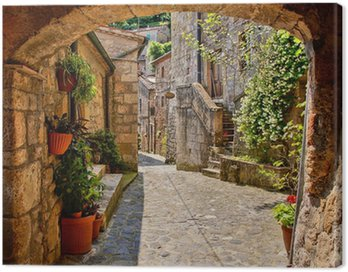 Canvas Print Arched cobblestone street in a Tuscan village, Italy