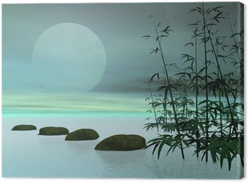 Canvas Print Asian steps to the moon - 3D render