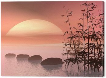 Canvas Print Asian steps to the sun - 3D render