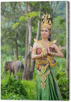 asian women in traditional costume of thailand