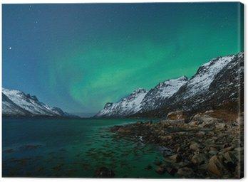Canvas Print Aurora Boarealis reflected in the ocean