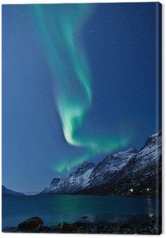 Canvas Print Aurora Borealis in Norway, reflected