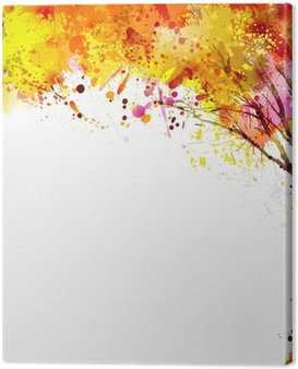 Canvas Print autumn abstract tree forming by blots