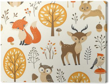 Canvas Print Autumn forest seamless pattern with cute animals