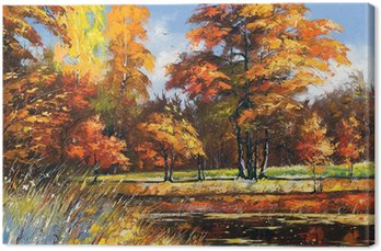 Autumn landscape on the bank of the river Canvas Print