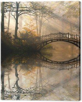 Canvas Print Autumn - Old bridge in autumn misty park