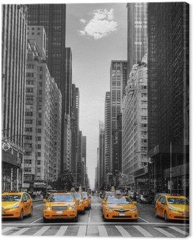Canvas Print Avenue avec des taxis à New York.