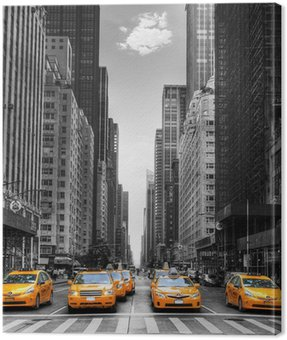 Canvas Print Avenue avec des taxis à New York.