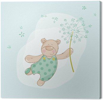 Canvas Print Baby Shower or Arrival Card - Baby Bear with Flower - in vector