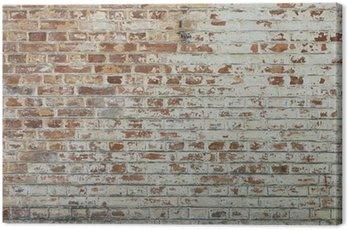 Canvas Print Background of old vintage dirty brick wall with peeling plaster