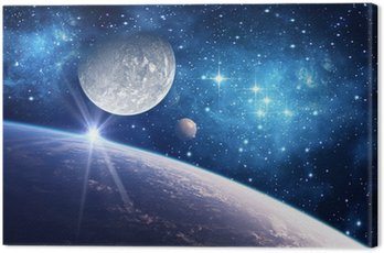 Background with a Planet, Moon and Star