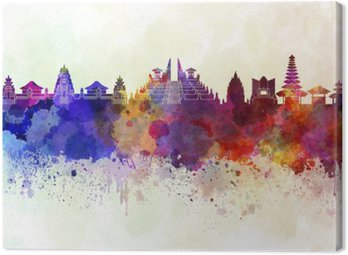 Canvas Print Bali skyline in watercolor background