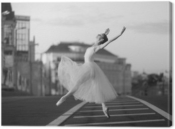 Canvas Print Ballerina dancing in the center of Moscow in the morning
