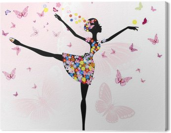 ballerina girl with flowers with butterflies Canvas Print