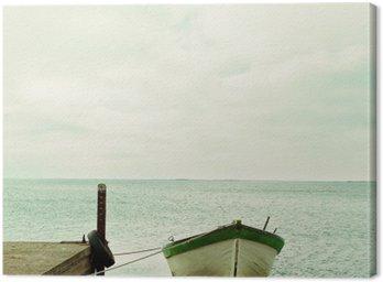 Canvas Print Baltic Sea and boat calm landscape