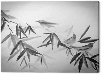Canvas Print bamboo and three birdies branch