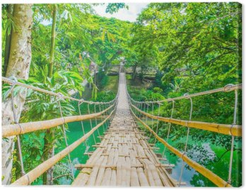 Canvas Print Bamboo pedestrian suspension bridge over river