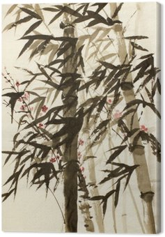 Canvas Print bamboo trees and plums branch