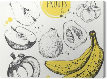 Banana, mangosteen, apple, bergamot. Hand drawn set with fresh food.