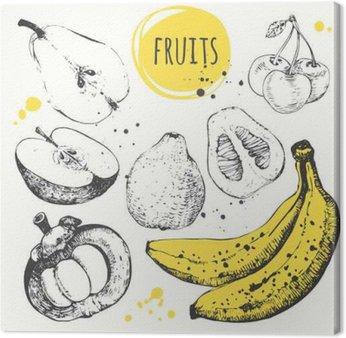Canvas Print Banana, mangosteen, apple, bergamot. Hand drawn set with fresh food.