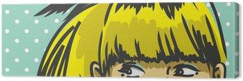 bangs hair woman peeking up, retro fashion background