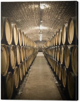 Barrels in wine cellar