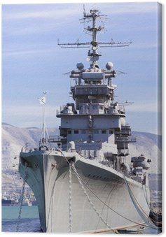 Canvas Print Battleship docked at a harbor of Novorossiysk, Russia