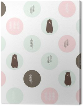 Canvas Print Bear and forest seamless background. vector design illustration.