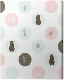 Bear and forest seamless background. vector design illustration.