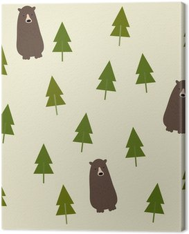 Canvas Print Bear and forest seamless background.