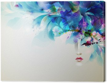 Canvas Print Beautiful abstract women with abstract design elements