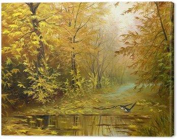 beautiful autumn landscape, canvas, oil