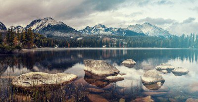beautiful autumn morning over a mountain lake Strbske Pleso,retro colors, vintage