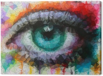 beautiful eye in geometric styling abstract geometric background Canvas Print